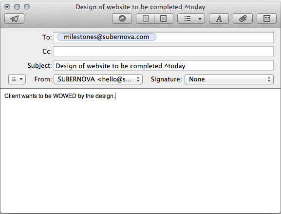 Create milestones via email subernova