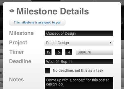 Milestone modal window edit timer
