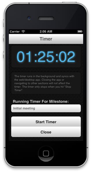 Milestone time tracking on iphone app
