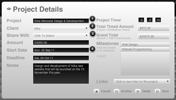 Project details with milestones timer data